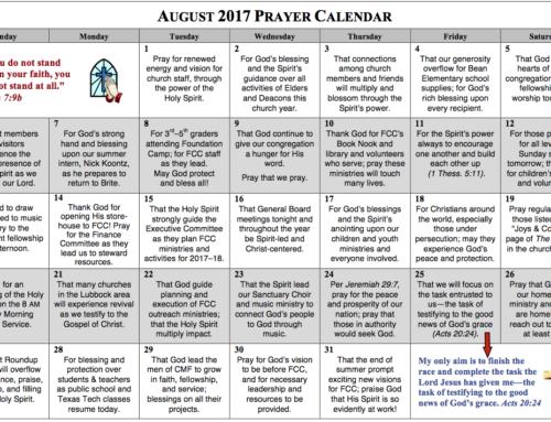 Prayer Calendar – August 2017