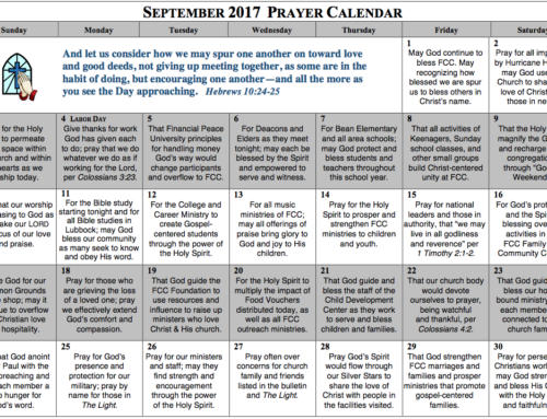 Prayer Calendar – September 2017