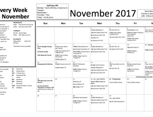 Church Calendar – November 2017