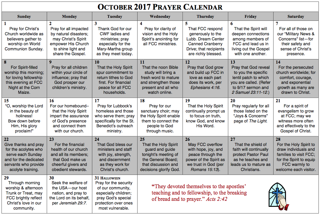 Prayer Calendar – October 2017