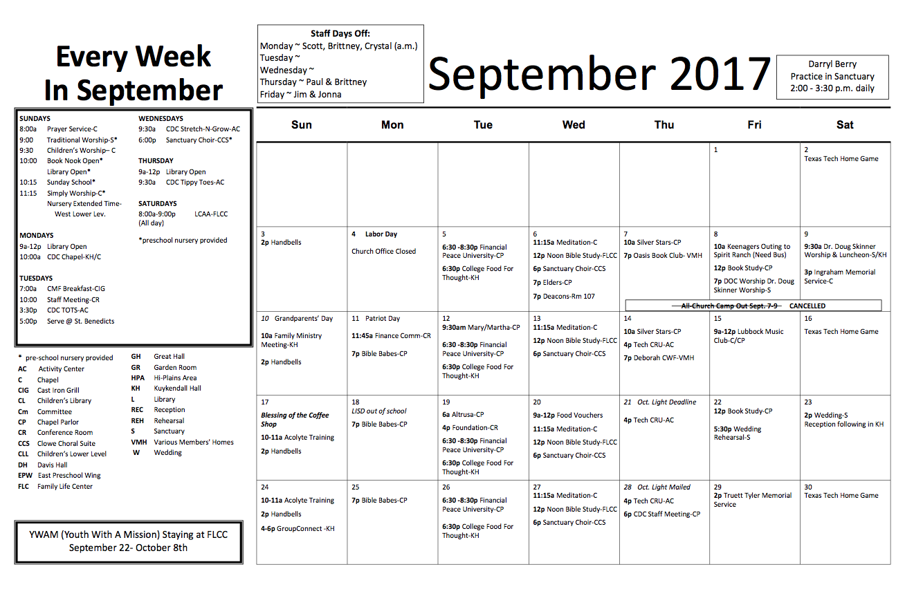 Church Calendar – September 2017