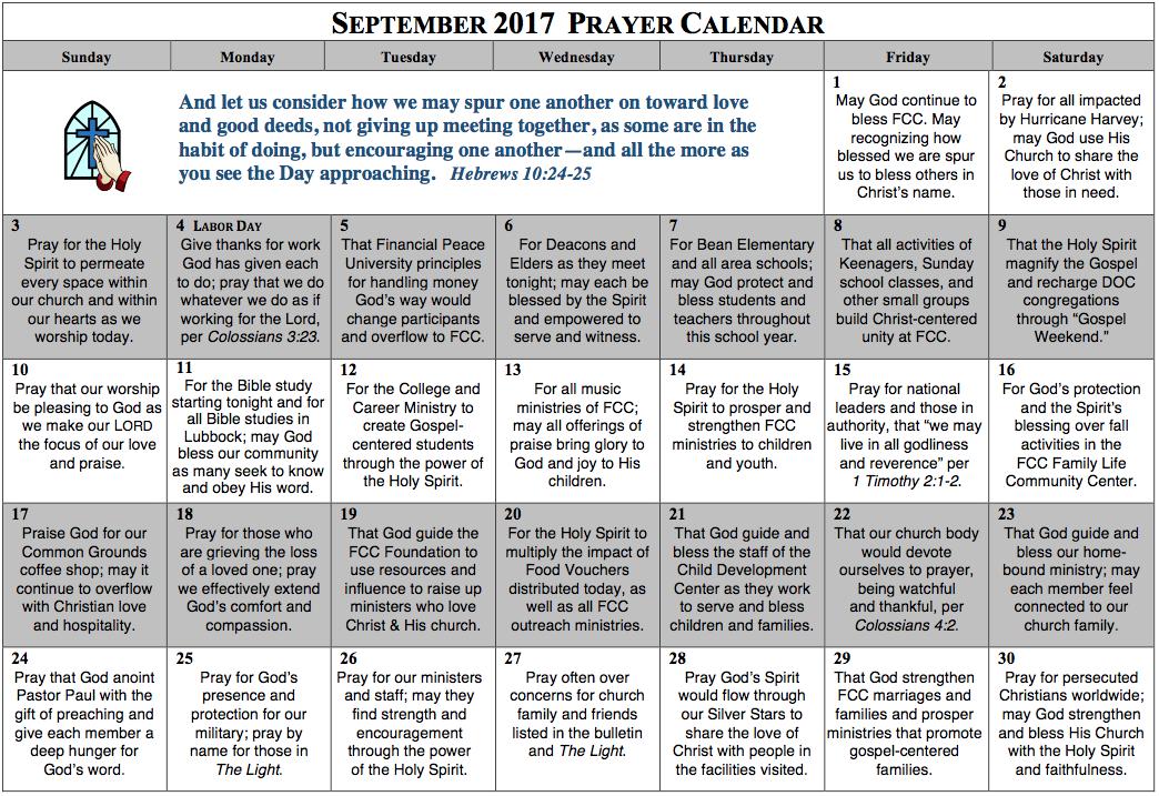 Prayer Calendar – September 2017